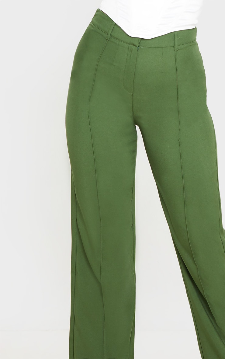 Khaki Anala High Waisted Straight Leg Pants 5