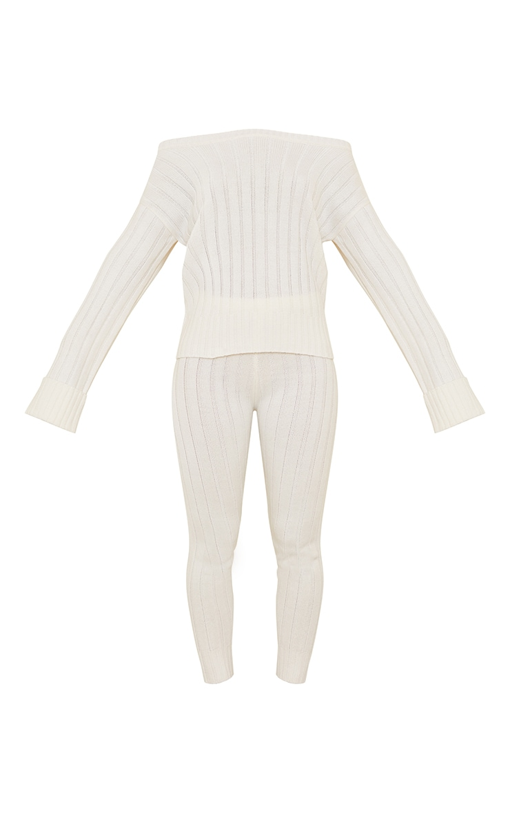 Cream Bardot Sweater And Leggings Lounge Set 5