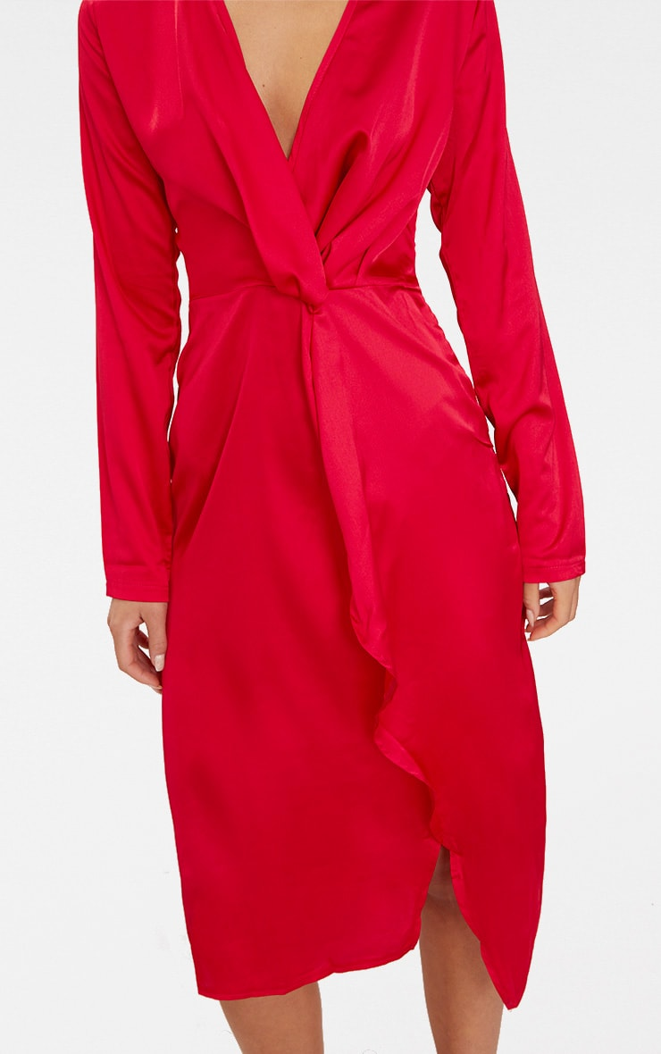 Red Satin Long Sleeve Wrap Midi Dress Prettylittlething