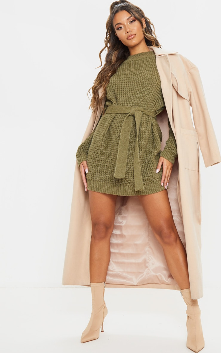 Khaki Soft Touch Belted Knitted Jumper Dress 4