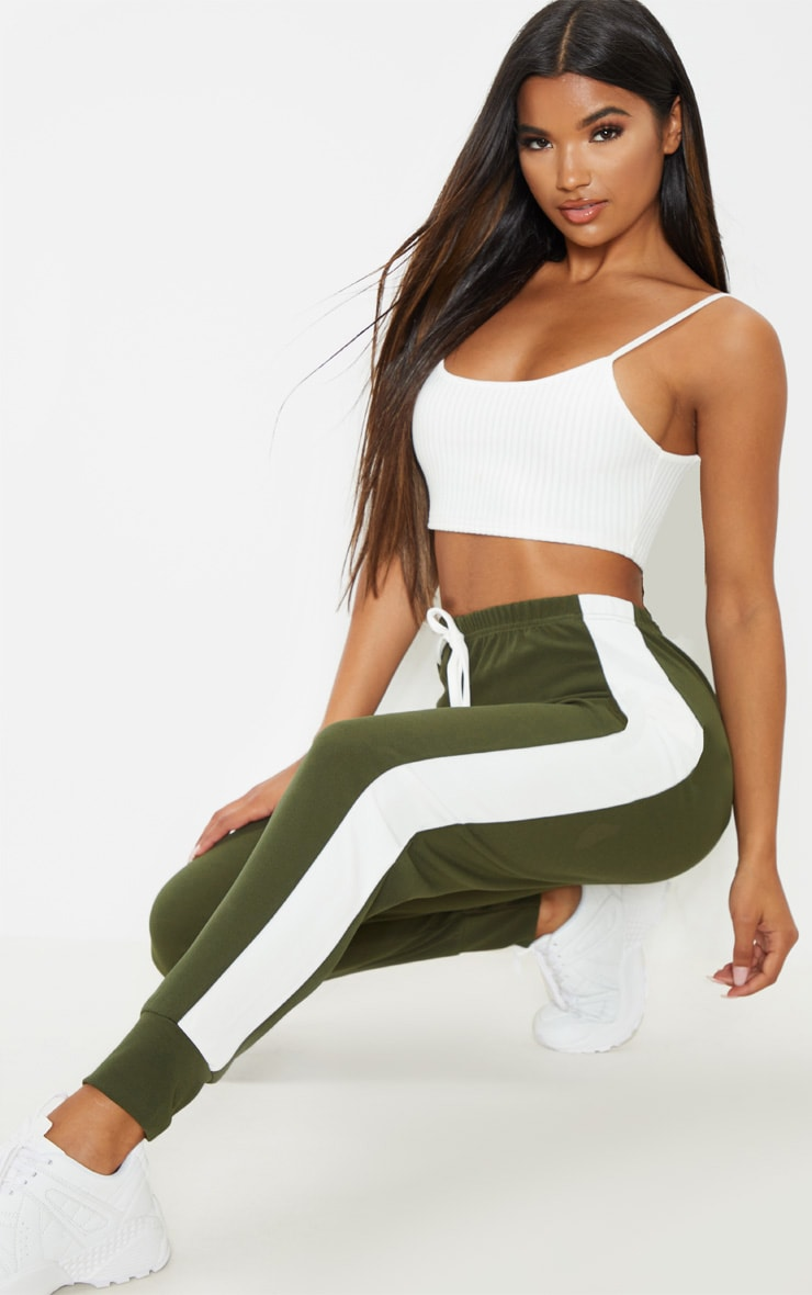Khaki Side Stripe Detail Jogger 1