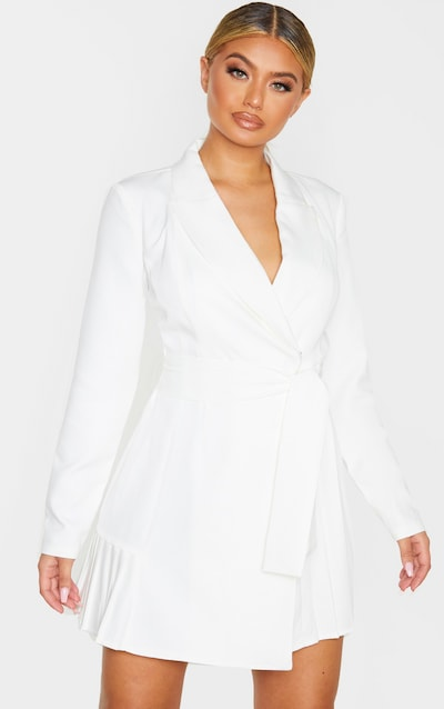 White Pleated Blazer Dress