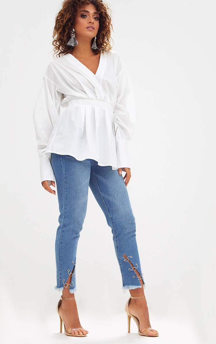 White Ruched Sleeve Gathered Waist Shirt  4
