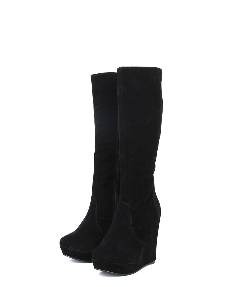 Black Suede Wedge Boot 2
