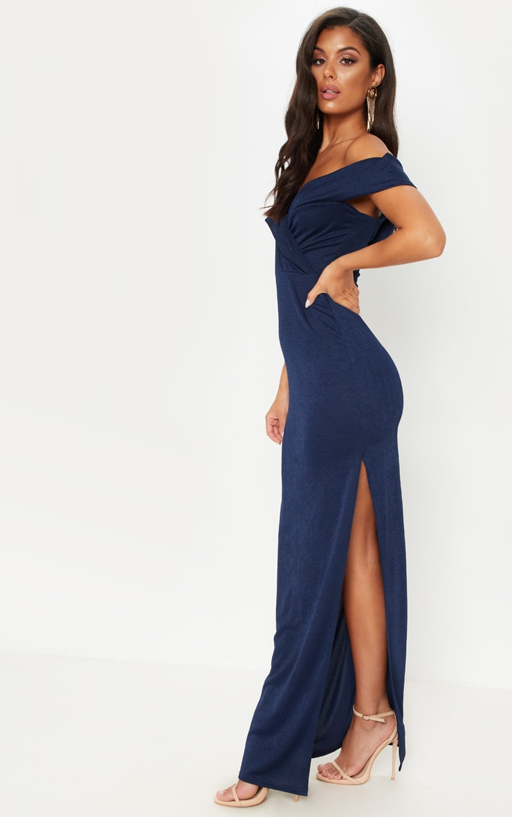 Navy Bardot Fold Detail Extreme Split Maxi Dress 4