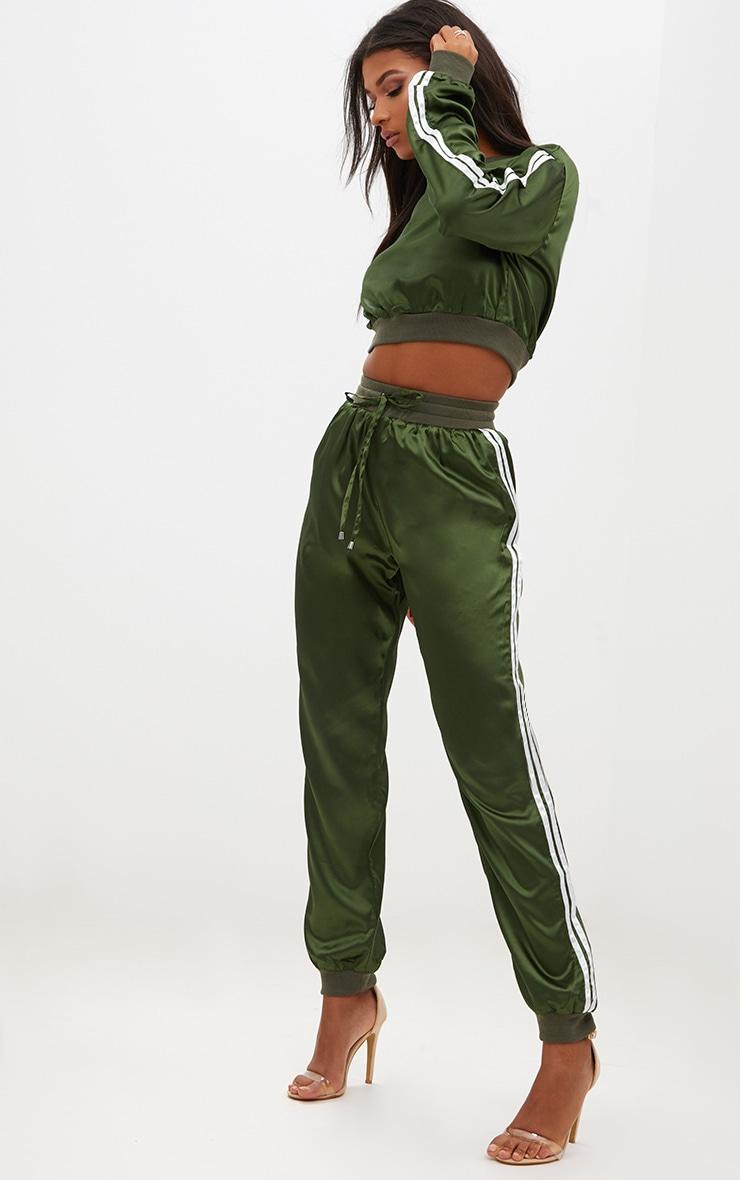 Emerald Green Satin Sporty Trim Joggers 1