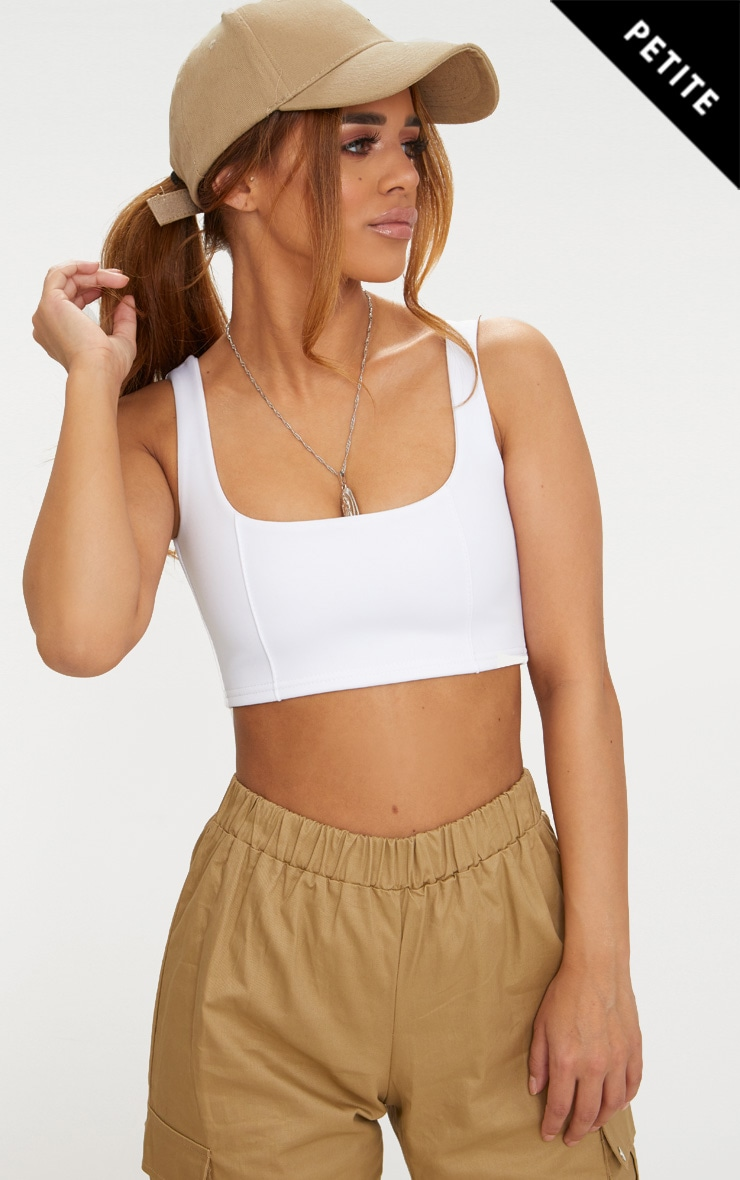 Petite White Square Neck Zip Back Crop Top