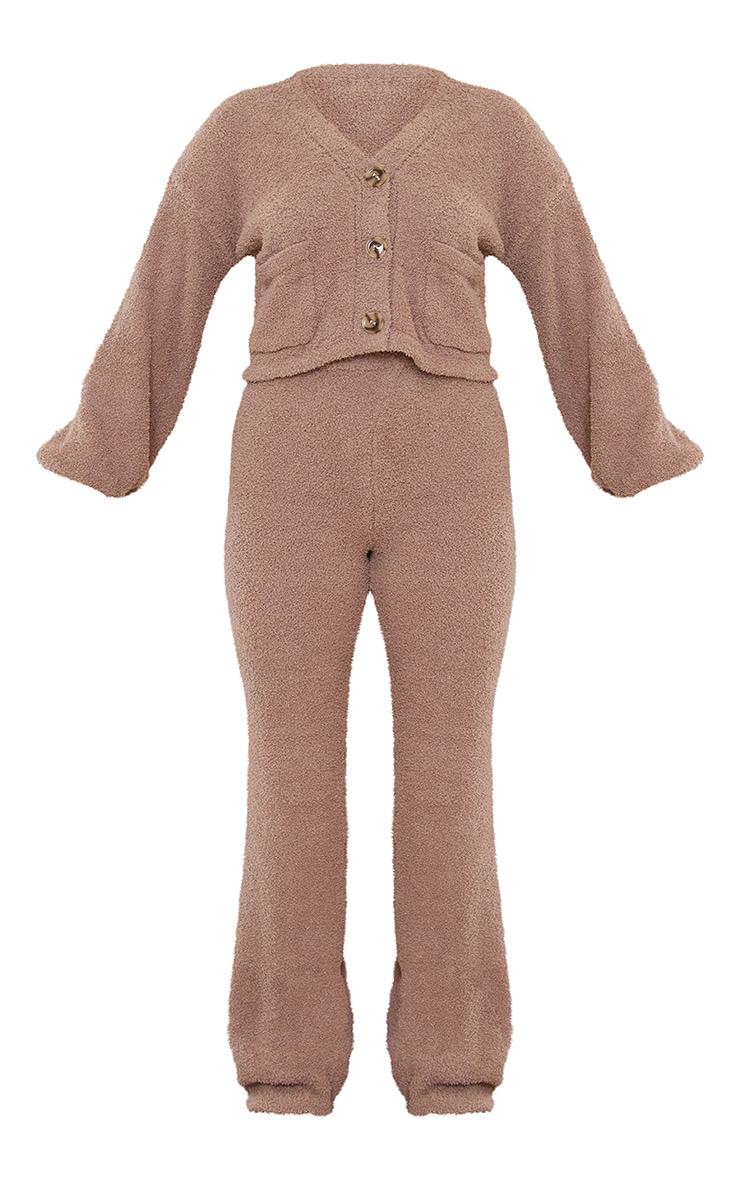 Petite Mocha Premium Fluffy Knit Wide Leg Set 5