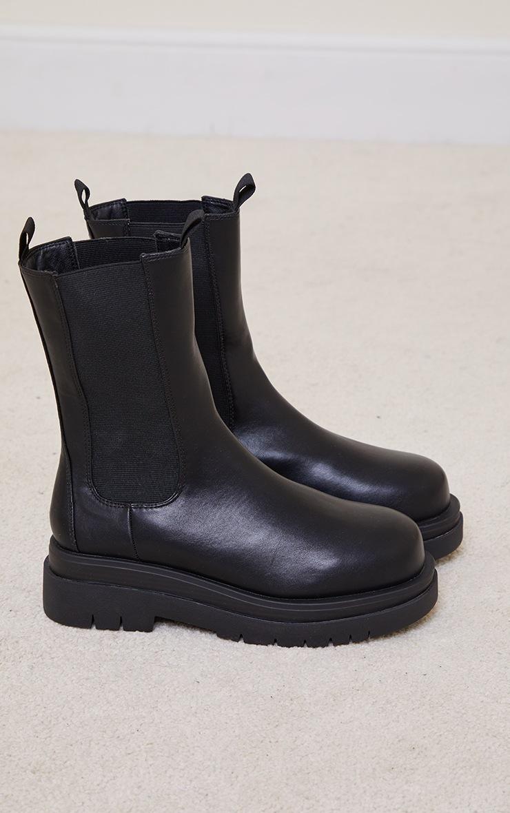Black PU Calf Length Chelsea Chunky Boots 3