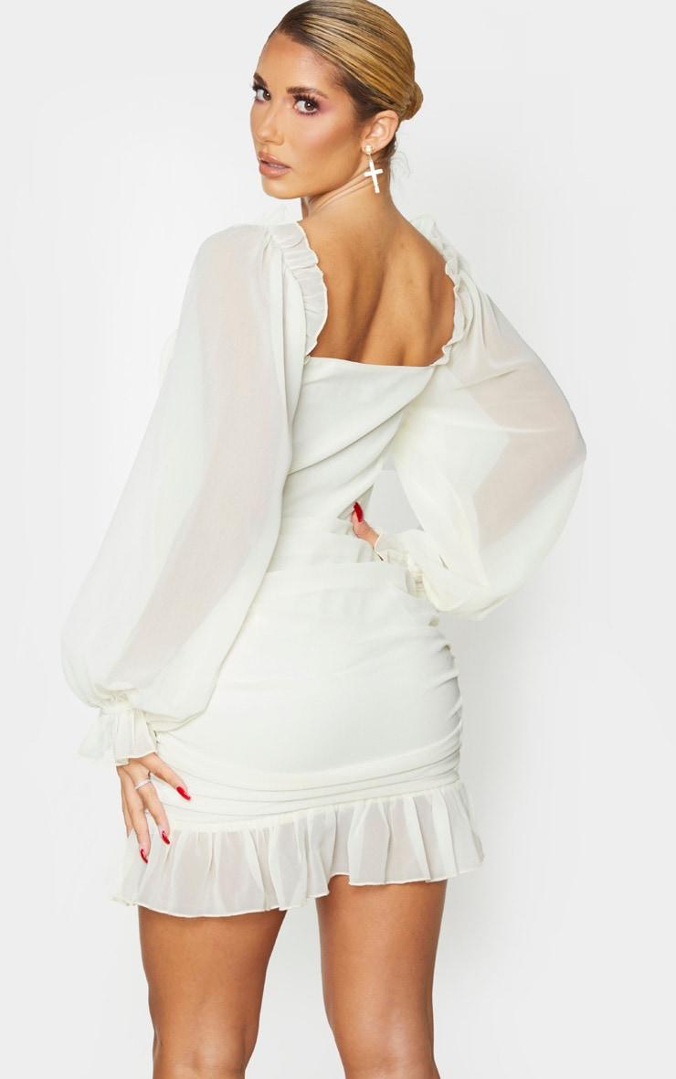 Cream Corset Detail Ruched Bodycon Dress 2