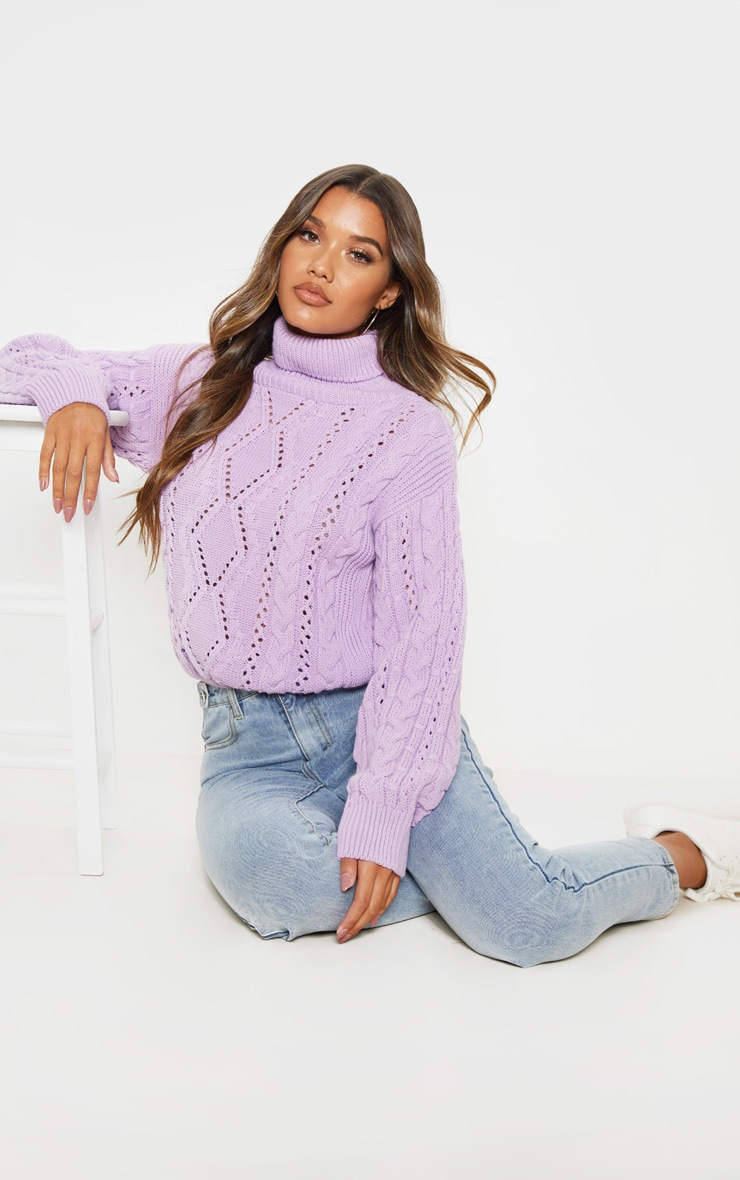 Lilac Cut Out Detail Roll Neck Jumper 4