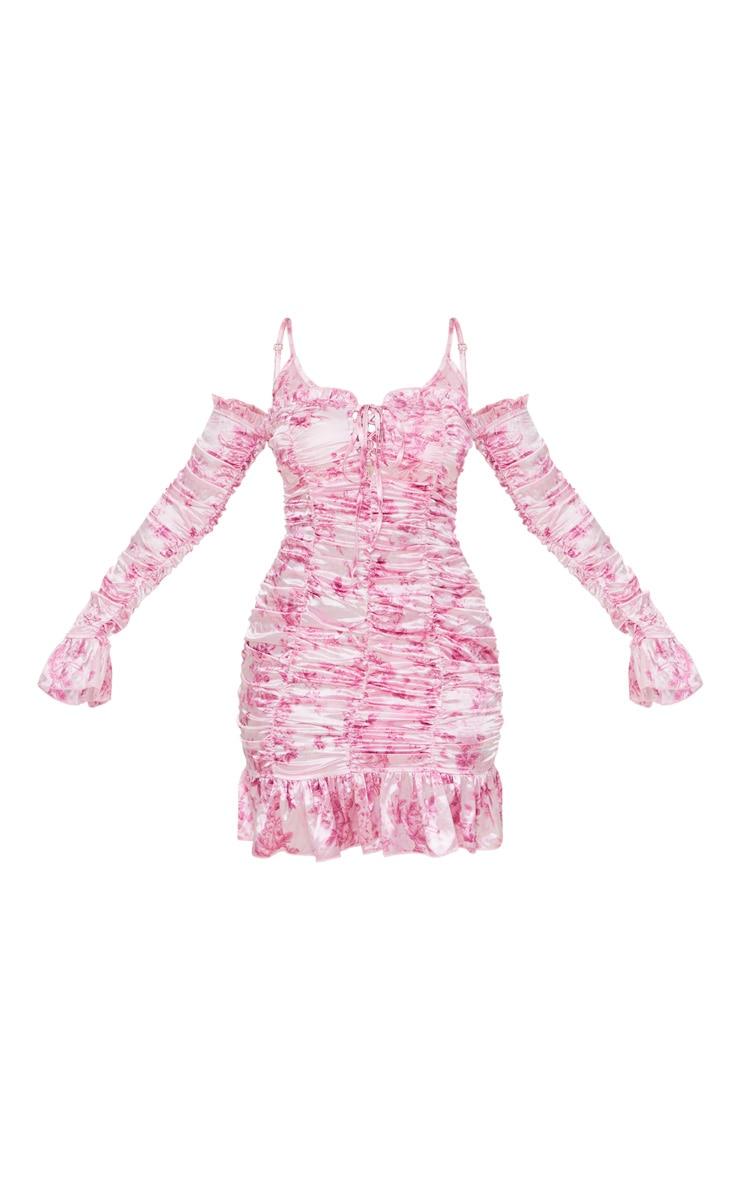 Pink Floral Print Satin Ruched Cold Shoulder Bodycon Dress 5