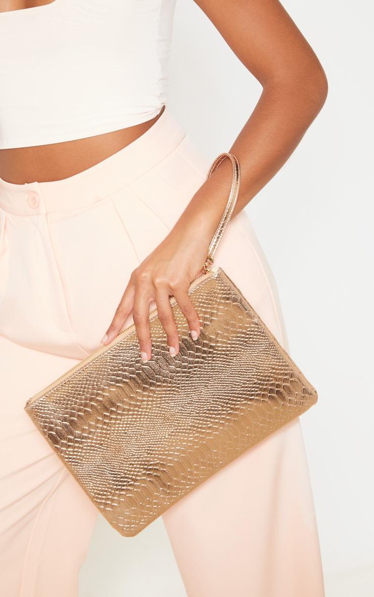 Rose Gold Metallic Clutch Bag 1