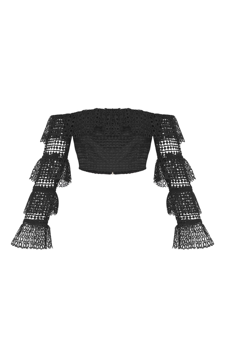 Black Lace Crop Tiered Sleeve Top 3