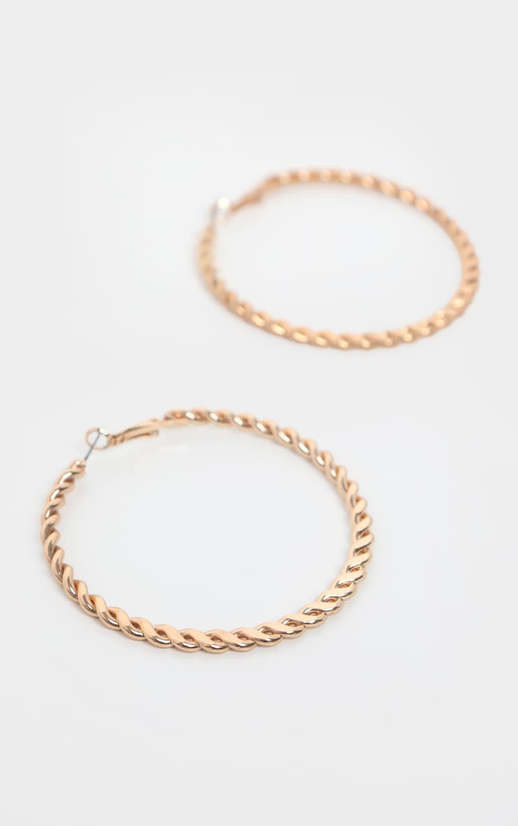 Gold Plait Effect Medium Hoop Earrings 3