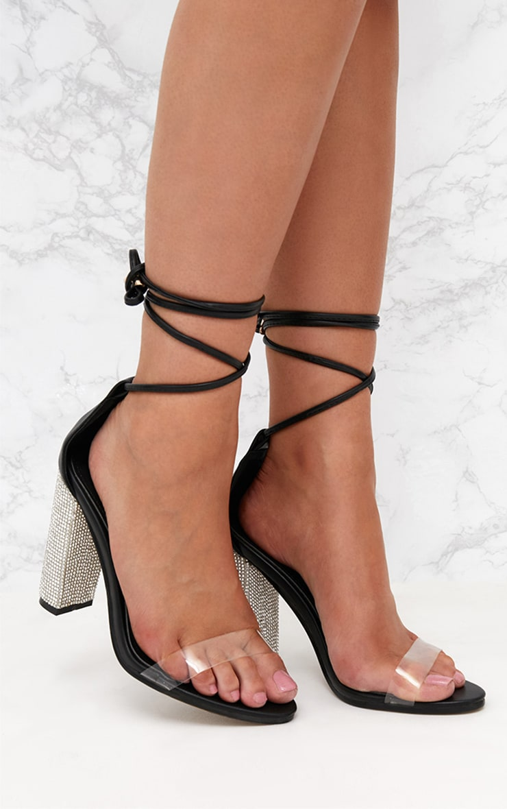 Black Lace Up Diamante Heels  1