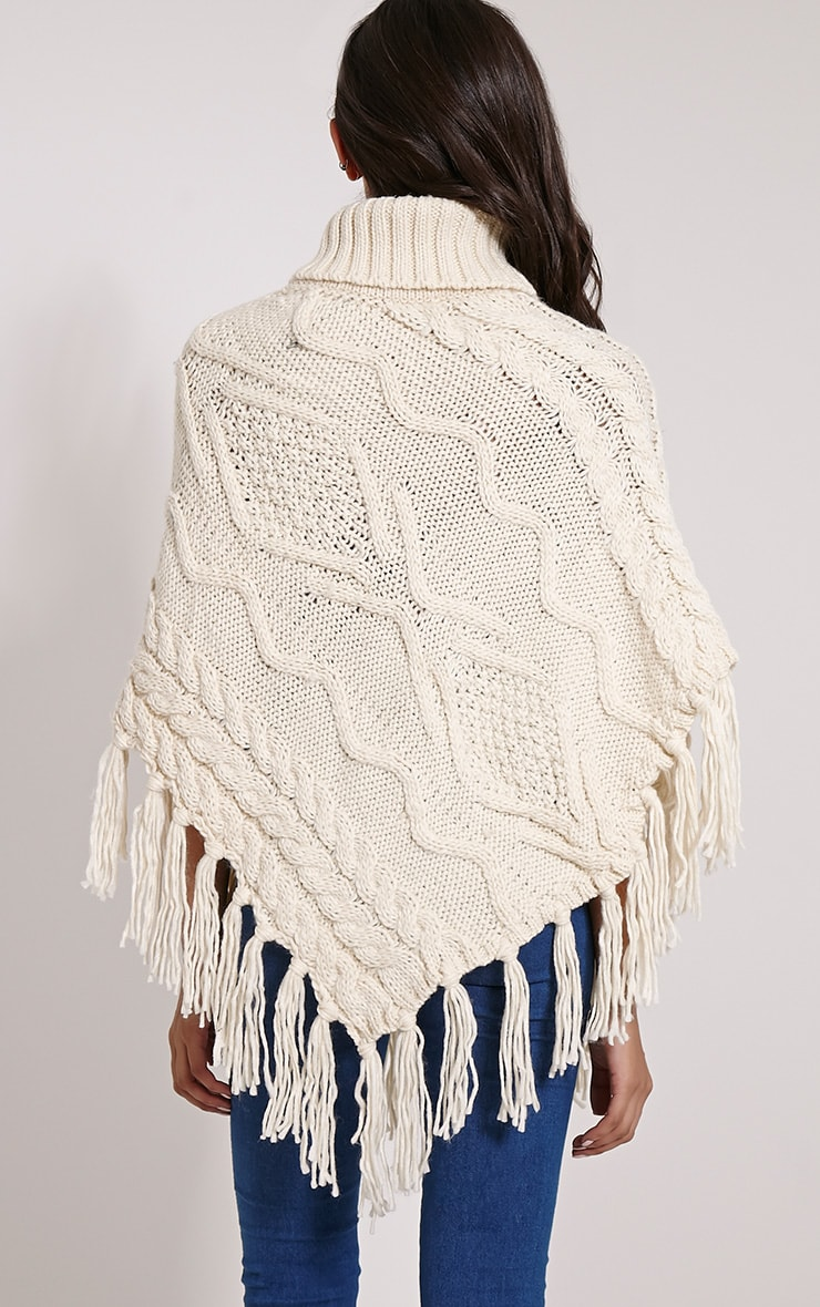 Arianne Cream Chunky Cable Knit Fringed Poncho 2