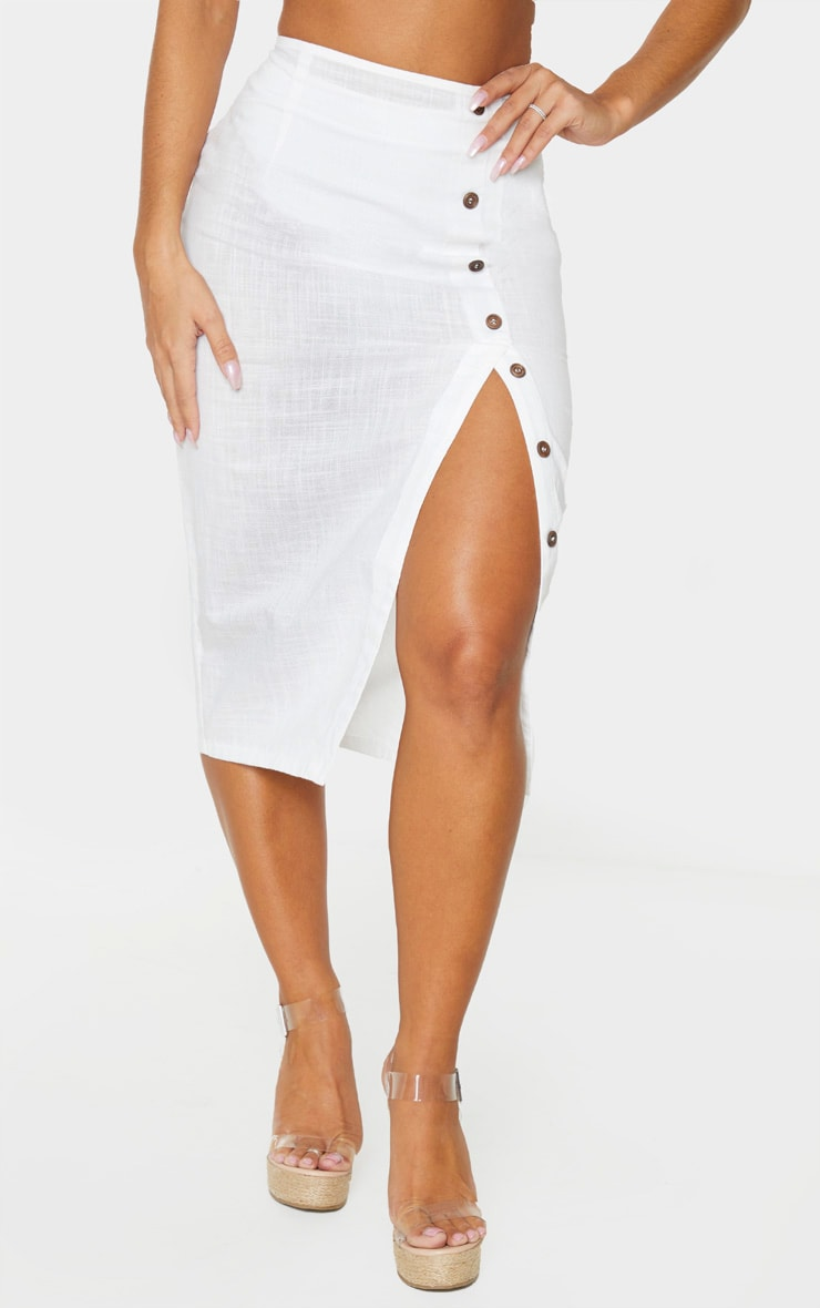 White Button Down Beach Skirt 2