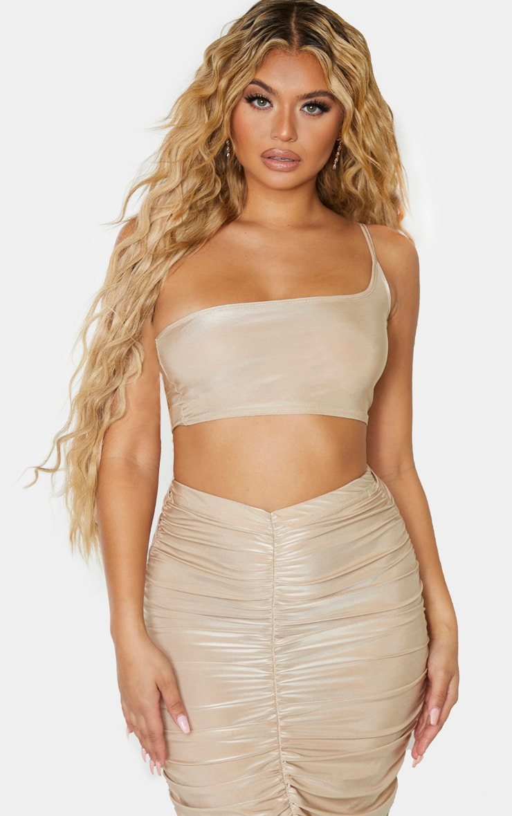 Camel Slinky One Shoulder Spaghetti Strap Crop Top 1