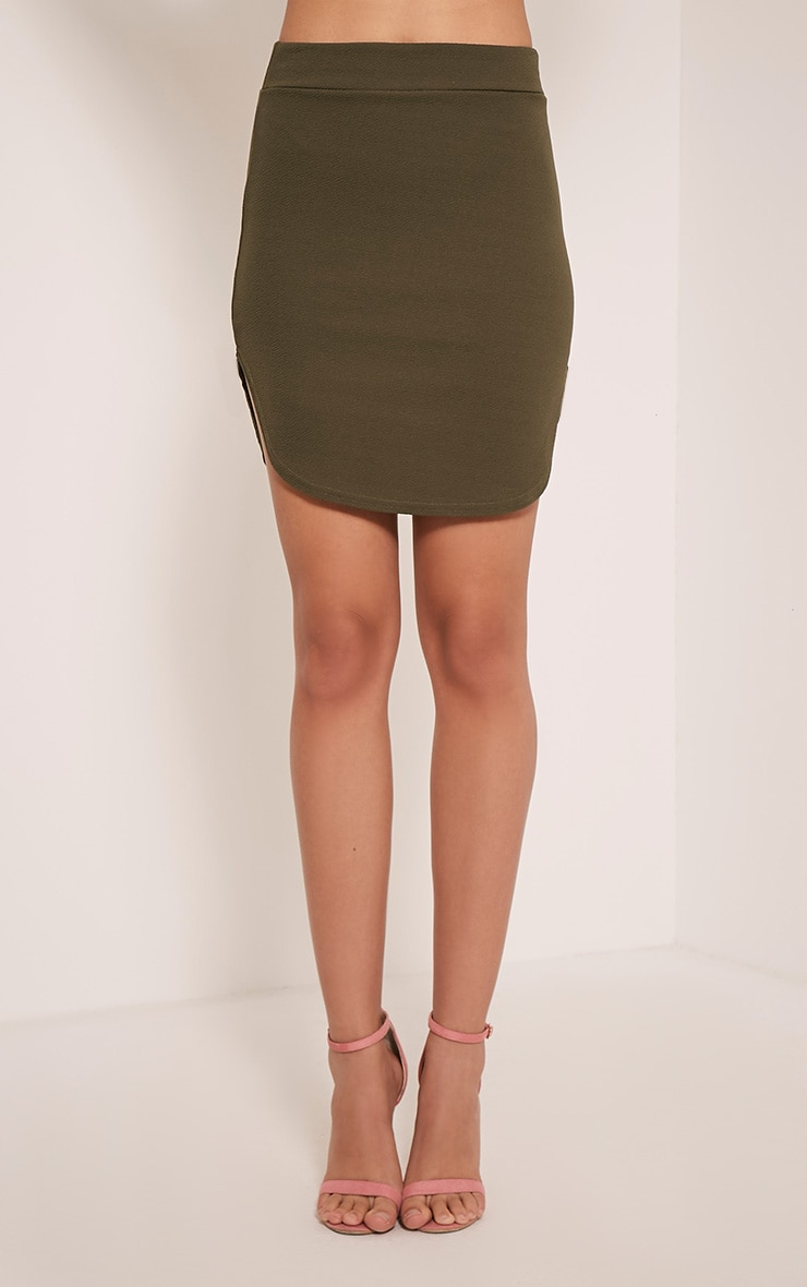 Aleshia Khaki Crepe Curved Hem Mini Skirt 2