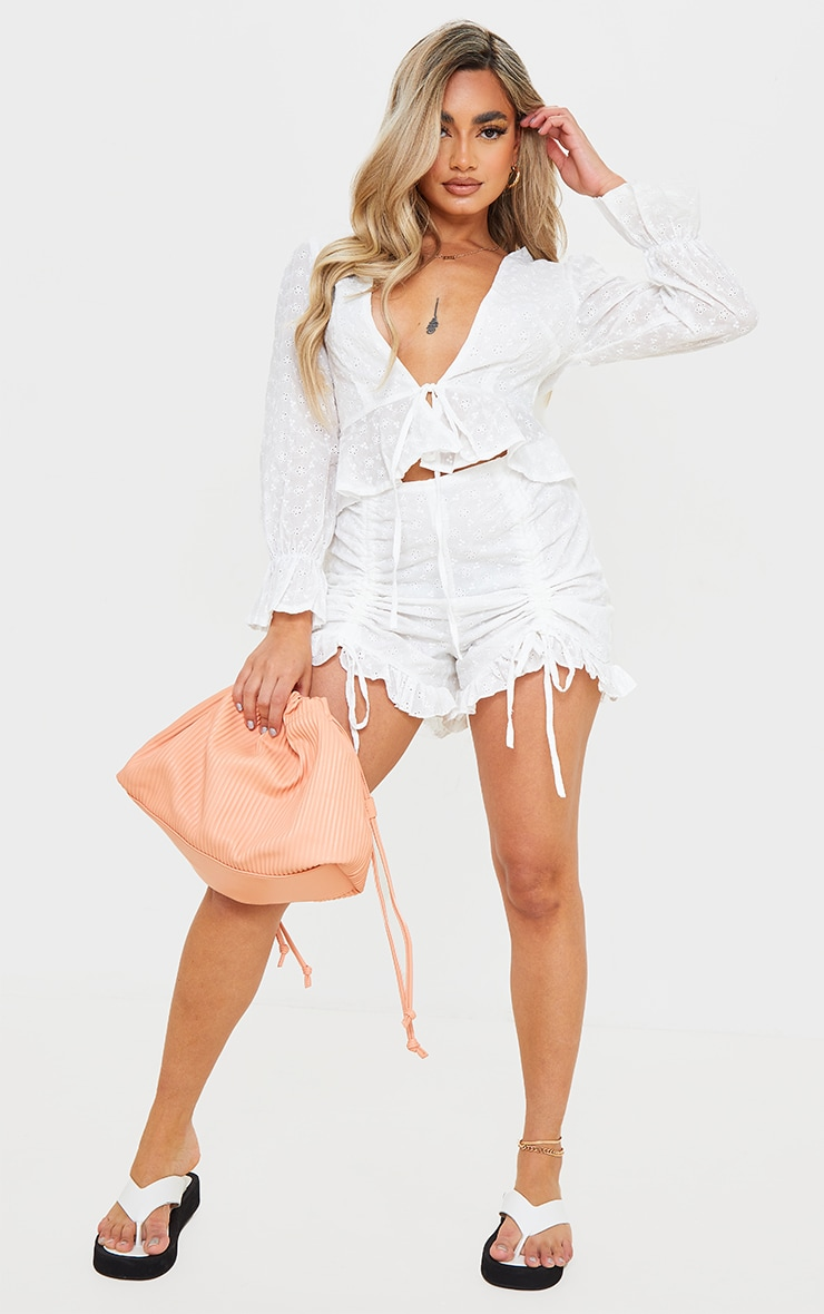 Petite White Broderie Anglaise Ruched Detail Shorts 1