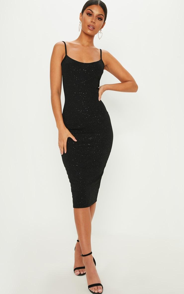 Black Glitter Strappy Midi Dress Dresses Prettylittlething