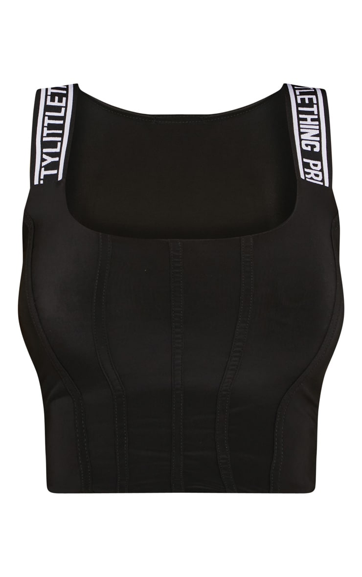 PRETTYLITTLETHING Shape Black Slinky Corset Crop Top 3