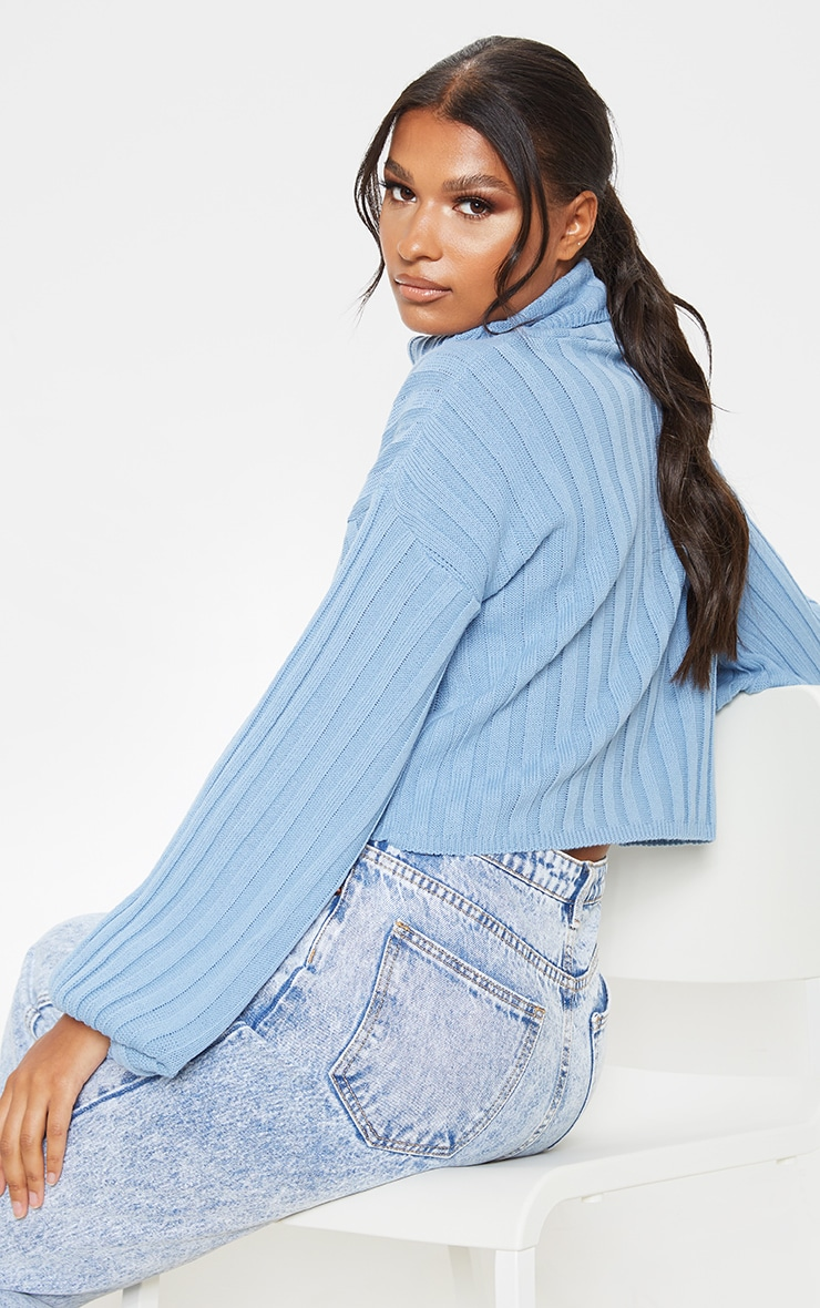 Dusty Blue Balloon Sleeve Roll Neck Ribbed Sweater 2