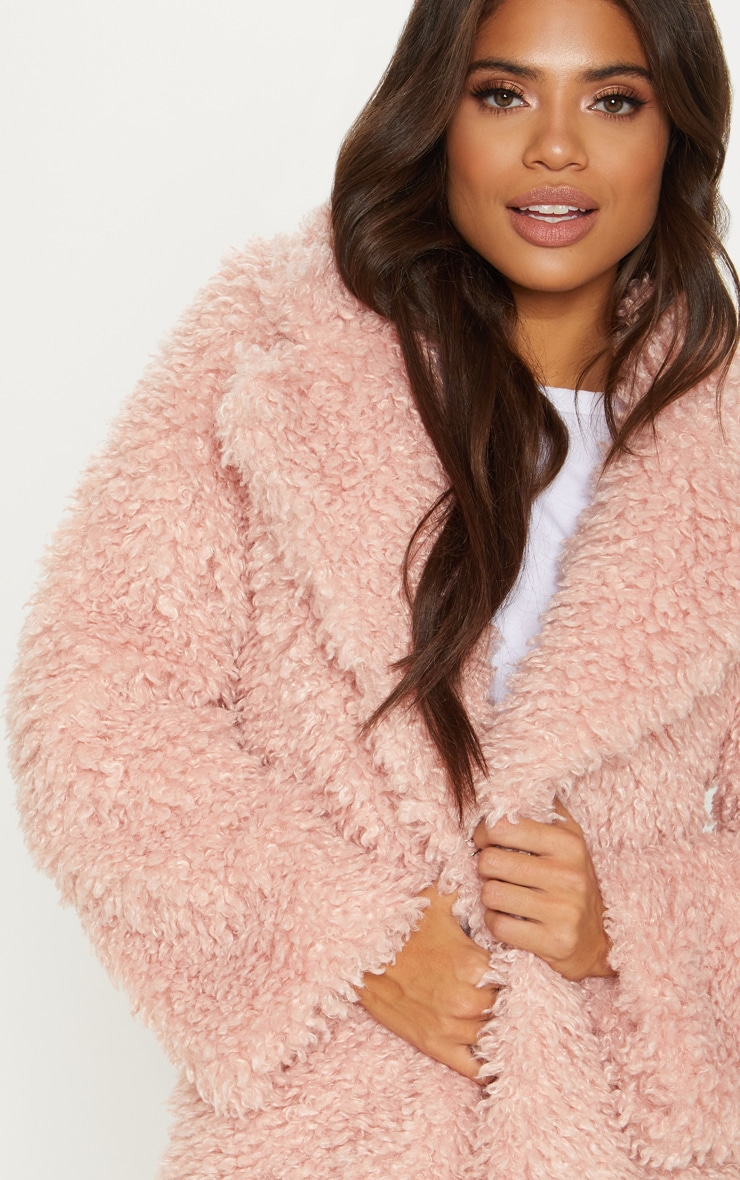 Pink Teddy Faux Fur Coat   5