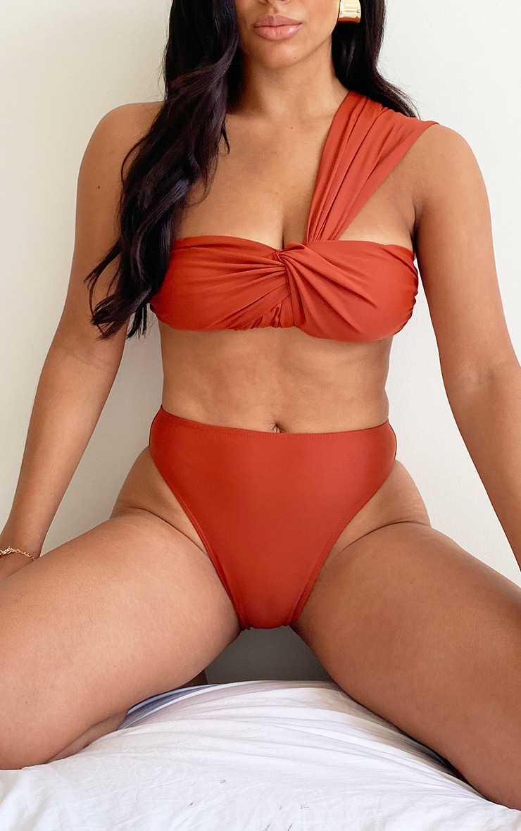 Brown High Waist Bikini Bottom 1