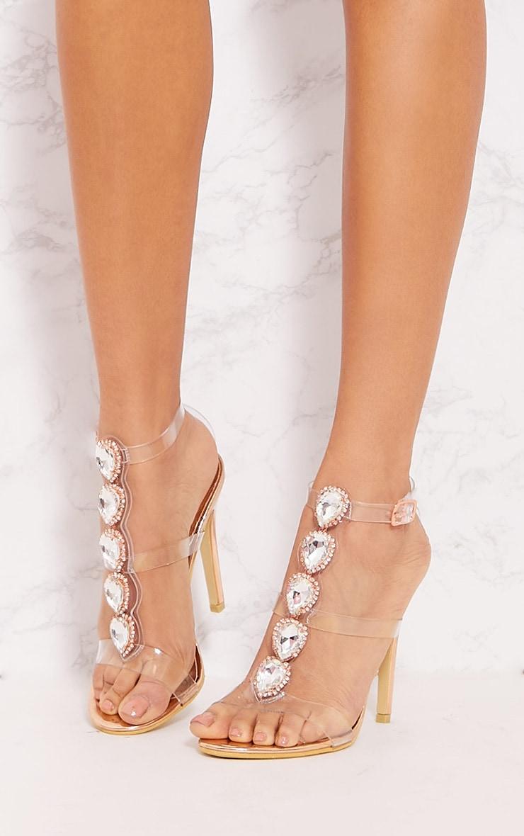 Gold Ankle Jewel Heeled Sandal 2