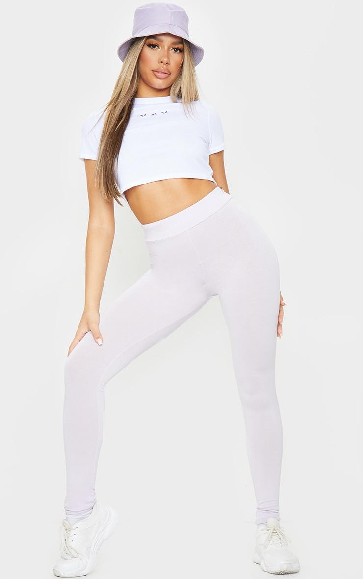 Lilac Basic High Waisted Jersey Leggings 1
