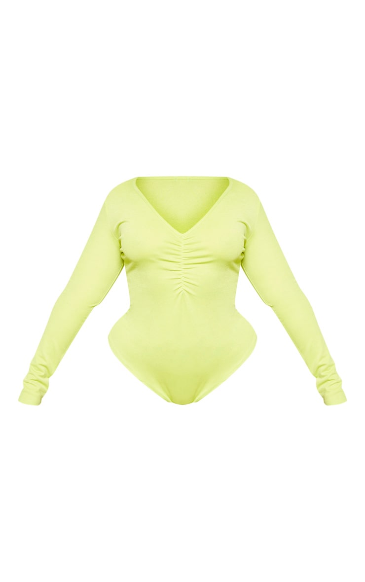 Plus Neon Lime Jersey Ruched Front Bodysuit  3