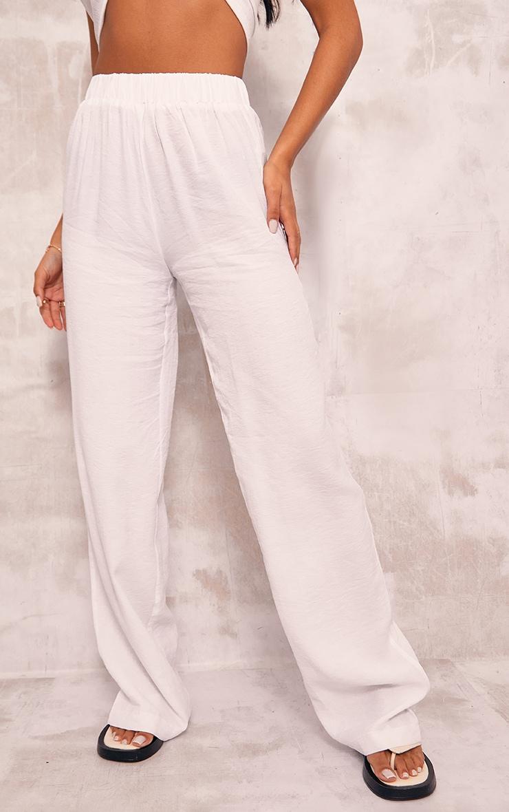 White Woven Elasticated Waist Wide Leg Pants 2