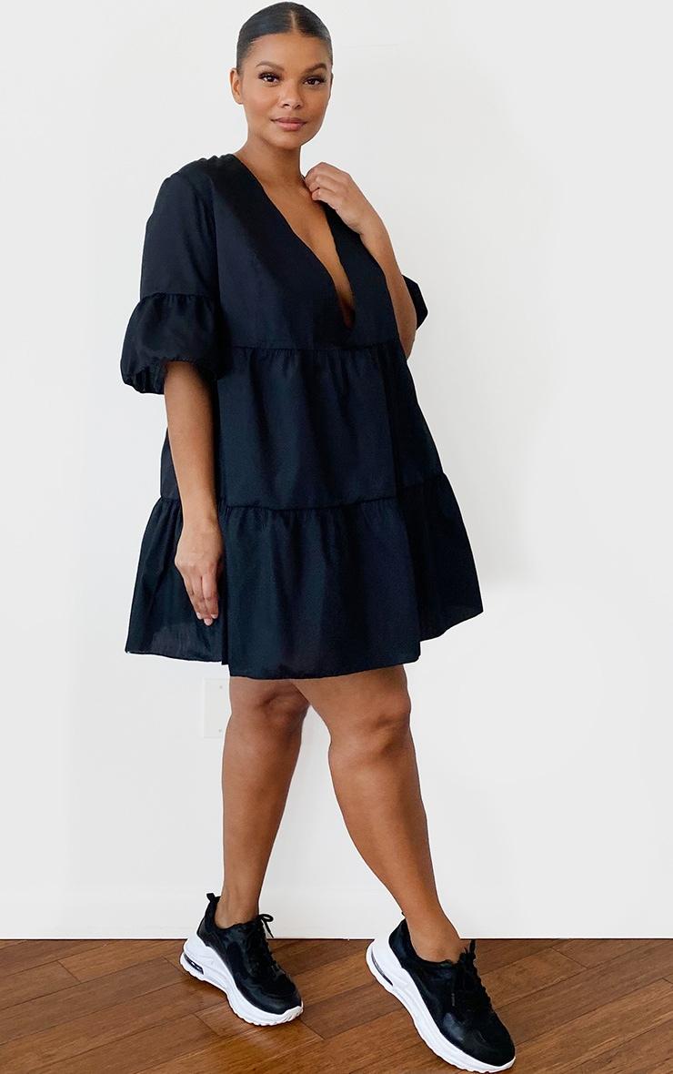 Plus Black Woven V Neck Tiered Smock Dress 3
