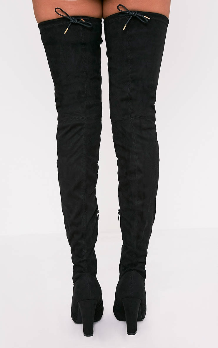 Cindy Black Extreme Thigh High Block Heeled Boots 4