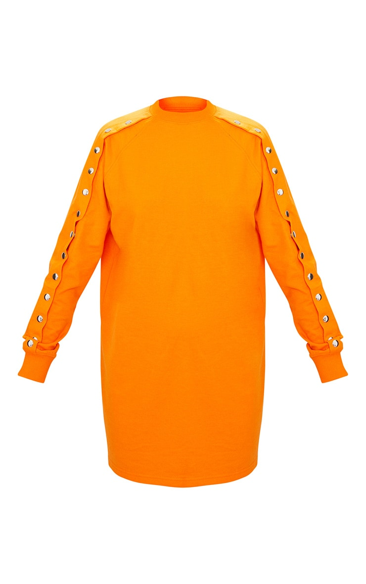 Bright Orange Popper Arm Sweater Dress 3