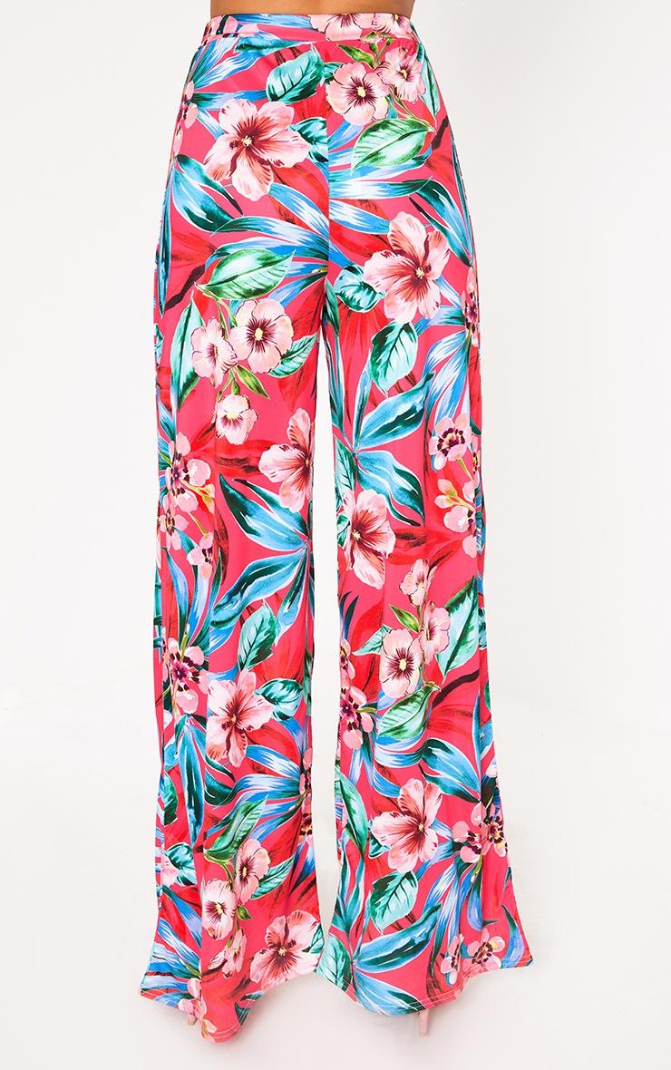 Fuchsia Tropical Floral Print Wide Leg Trousers 2