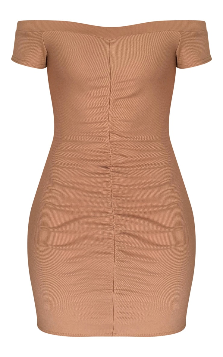 Stone Rib Ruched Front Bardot Bodycon Dress 5