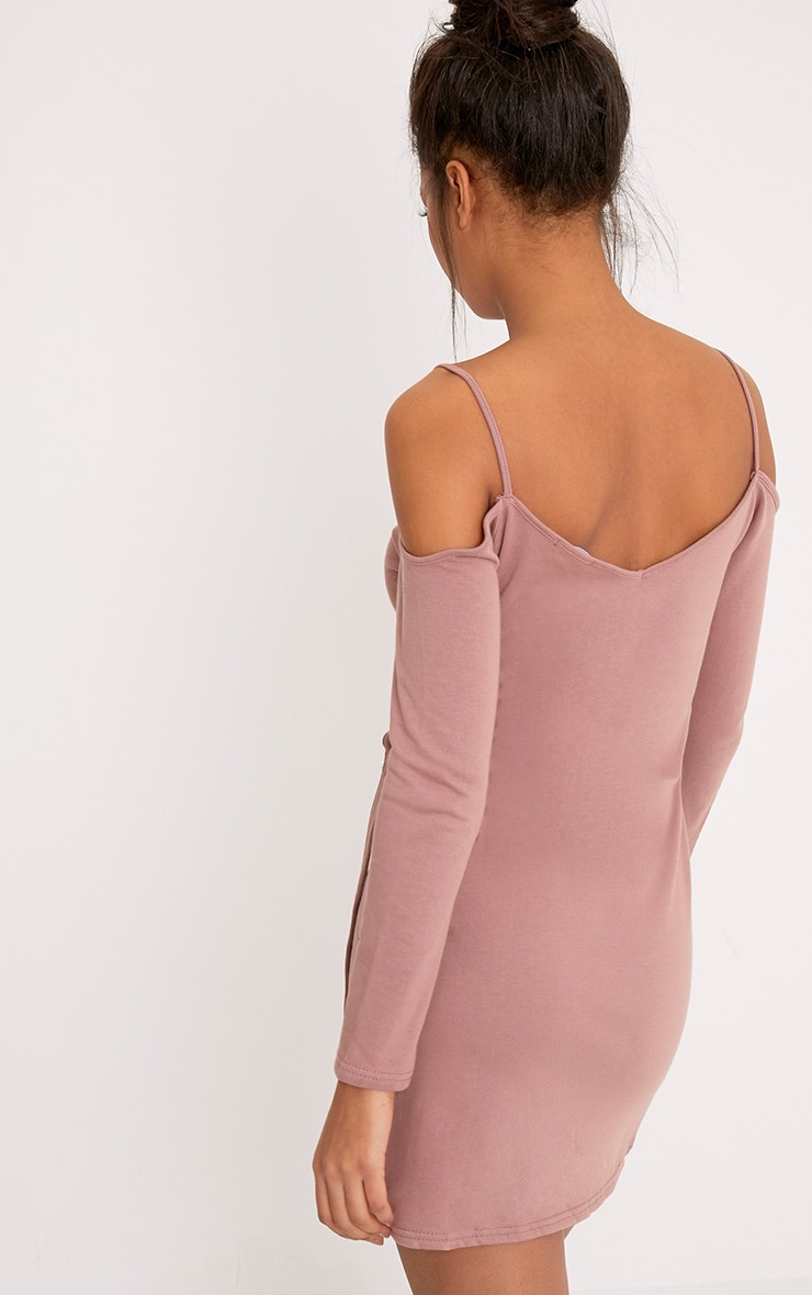 Mitzie Dark Mauve Cold Shoulder Ring Detail Sweater Dress  2