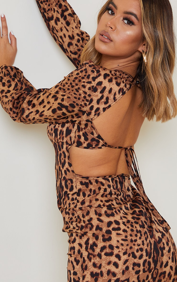 Tan Leopard Print Balloon Sleeve Lace Up Back Bodycon Dress 4