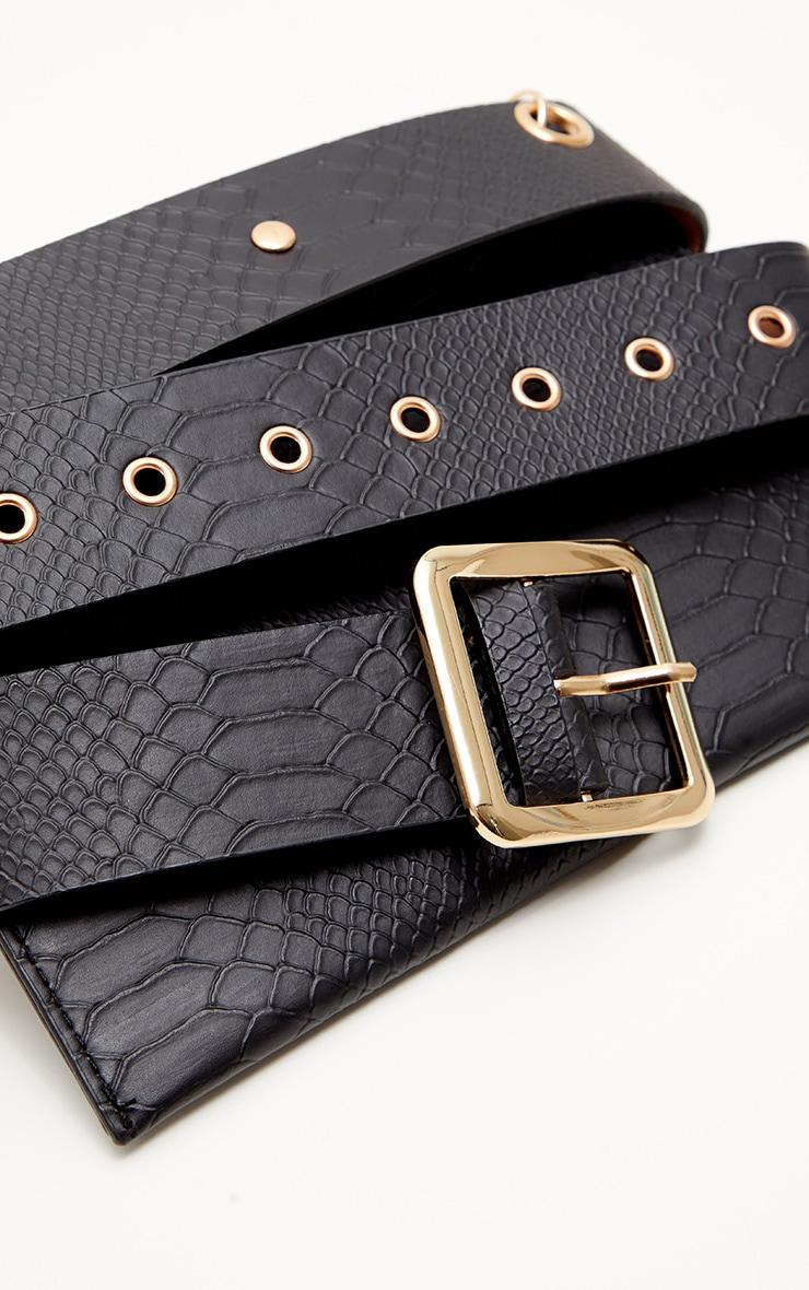 Black Croc Envelope Belted Bum Bag 3