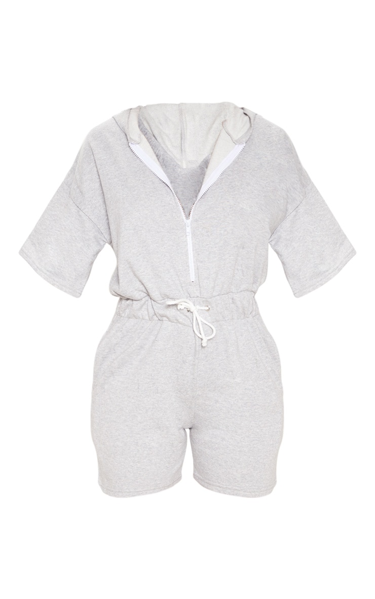 Grey Short Sleeve Hooded Sweat Playsuit 3