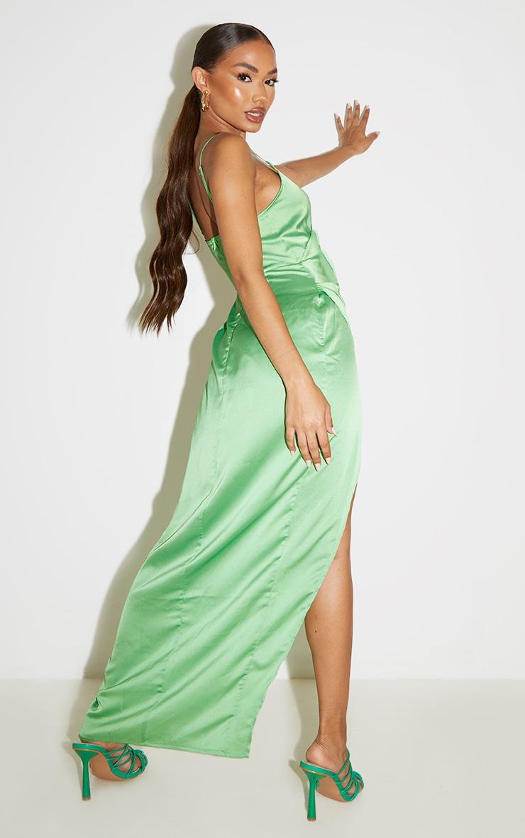 Petite Green Satin Wrap Detail Maxi Dress 2