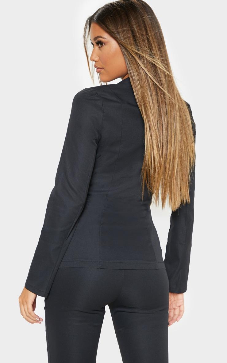 Black Button Detail Woven Blazer 2