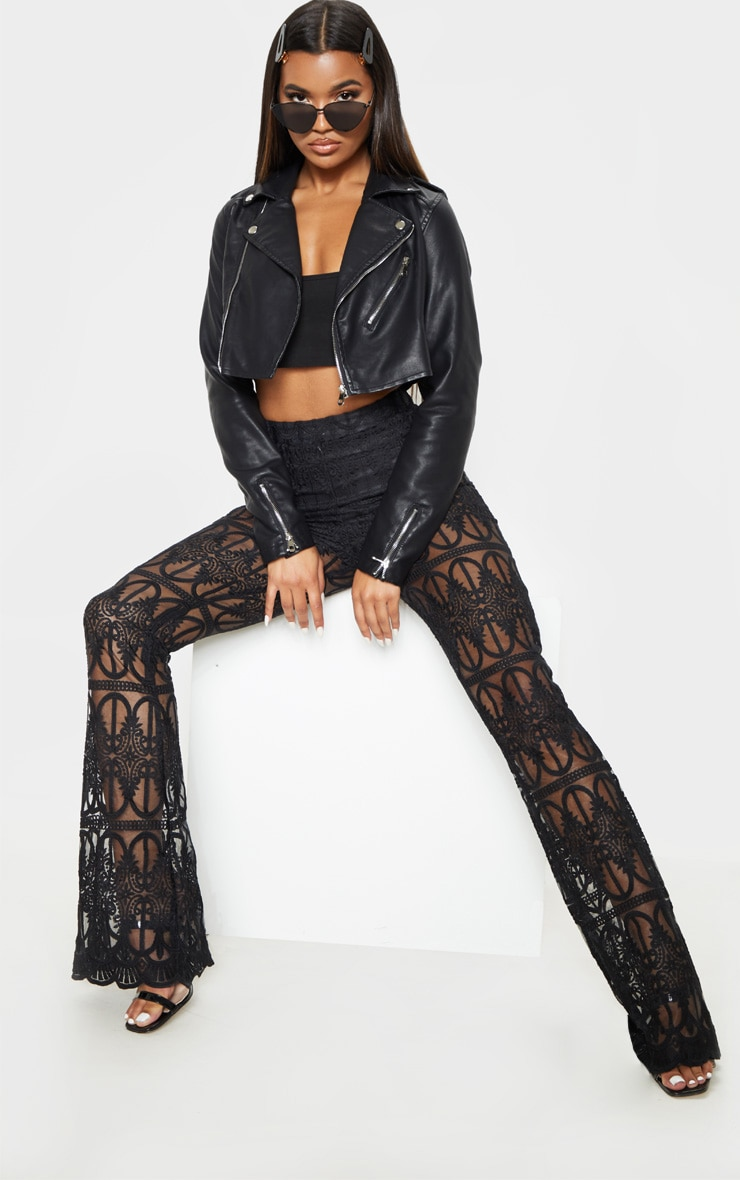 Black Cropped PU Biker Jacket With Zips 4