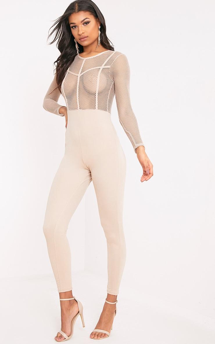 Sena Nude Fishnet Jumpsuit  4