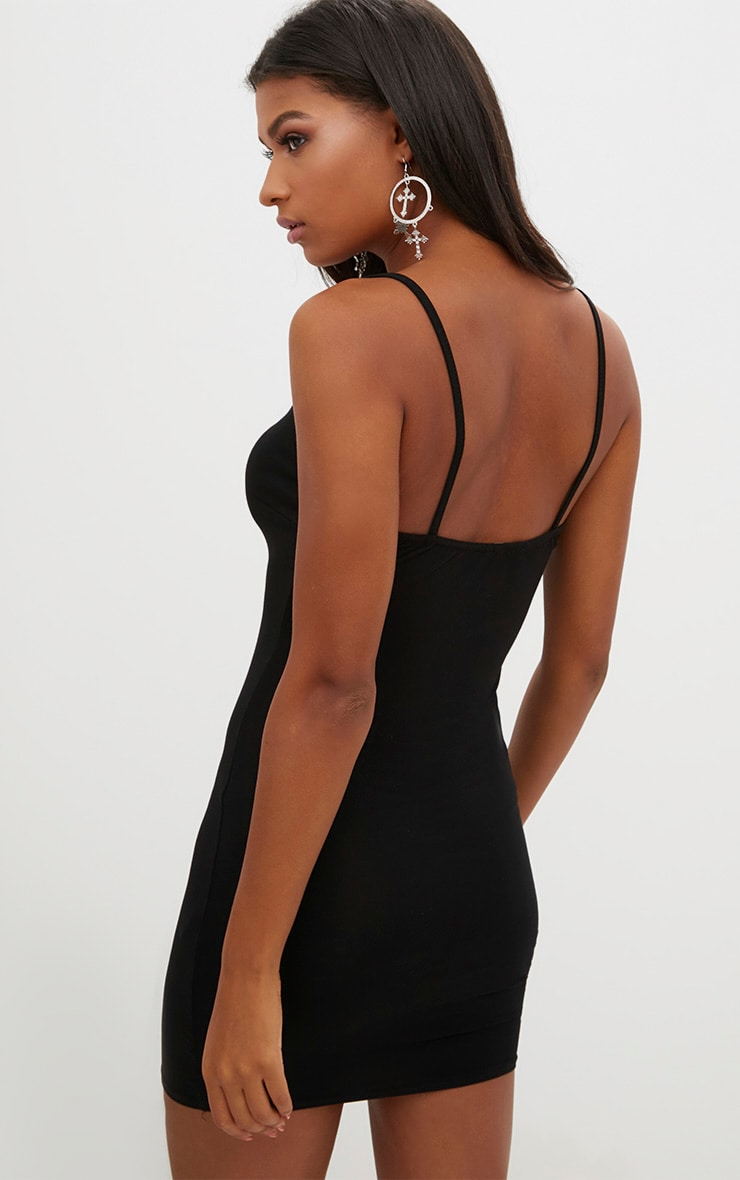 Black Strappy V Plunge Bodycon Dress 2