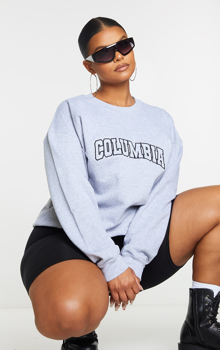 Plus Grey Columbia Embroidered Oversized Sweater 1
