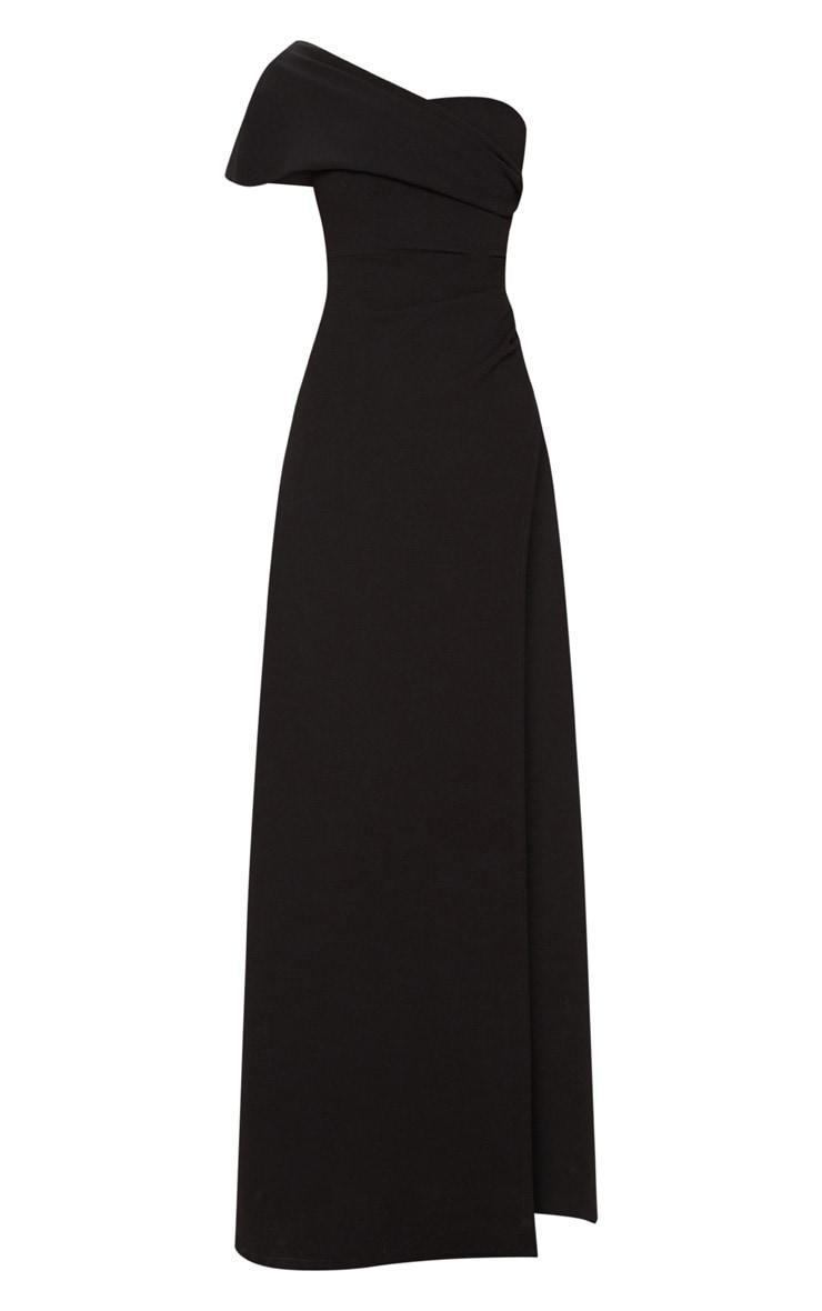 Black One Shoulder Draped Detail Extreme Split Maxi Dress 3